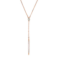 Pavé Bar Y Necklace - Crystal/Rose Gold Plated