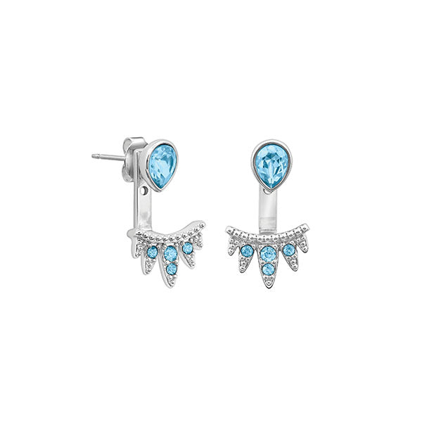 Teardrop Jacket Earrings - Aquamarine Crystal/Rhodium Plated