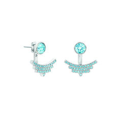 Pavé Arc Jacket Earrings - Aquamarine Crystal/Rhodium Plated