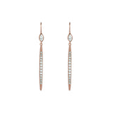 Linear Bar French Wire Earrings - Crystal/Rose Gold Plated