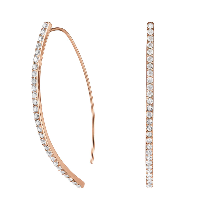 Pavé Arc Earrings & Curved Bar Necklace Gift Set - Crystal/Rose Gold Plated