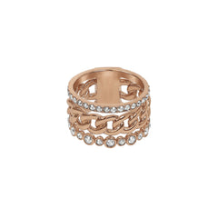 3 Row Fixed Ring - Crystal/Rose Gold Plated