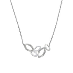 Small Open Petal Necklace - Crystal/Rhodium Plated