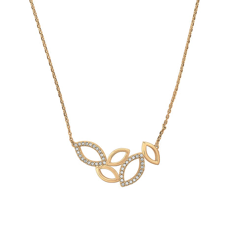 Small Open Petal Necklace - Crystal/Gold Plated