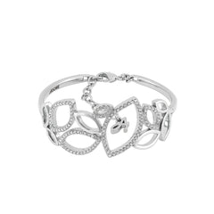 Open Soft Petal Cuff - Crystal/Rhodium Plated