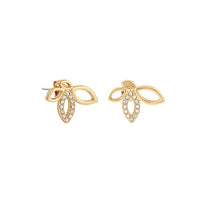 Open Petal Post Earrings - Crystal/Gold Plated