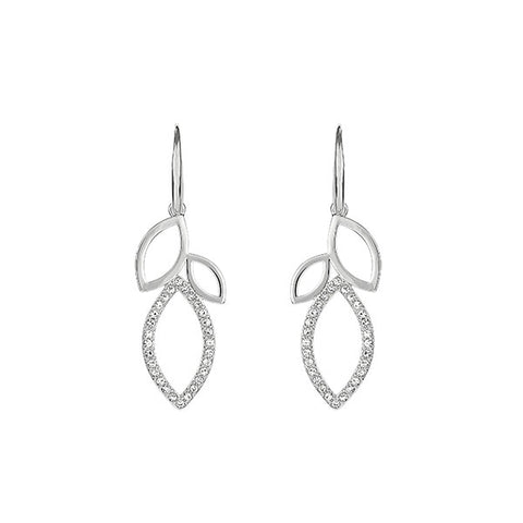 Open Petal French Wire Earrings - Crystal/Rhodium Plated