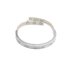 Crystal Fabric & Leather Cuff - Crystal Fabric/Rhodium Plated
