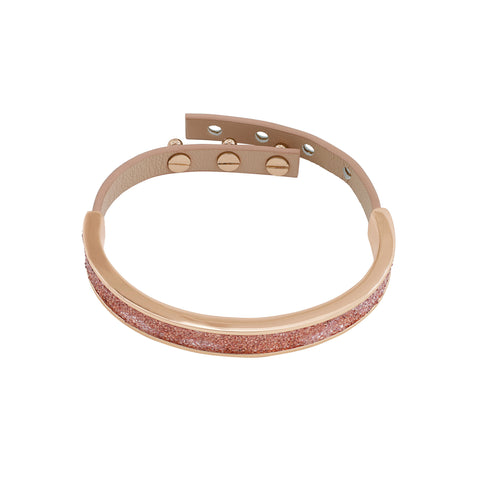 Crystal and Fabric Leather Cuff - Crystal Fabric/Rose Gold Plated