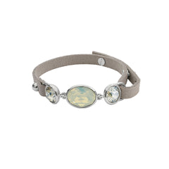 Crystal and Suede Bracelet - White Opal Crystal/Rhodium Plated