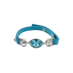 Crystal and Suede Bracelet - Blue Crystal/Rhodium Plated