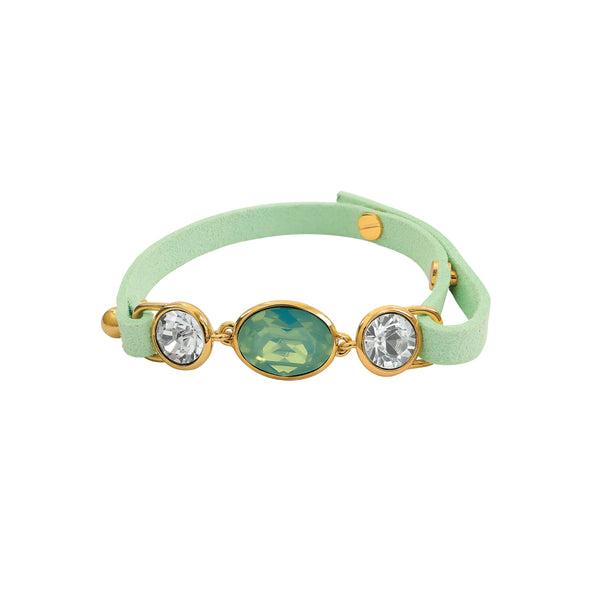 Crystal and Suede Bracelet - Sea Green Crystal/Gold Plated