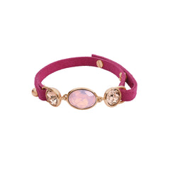 Crystal and Suede Bracelet - Pink Opal Crystal/Rose Gold Plated