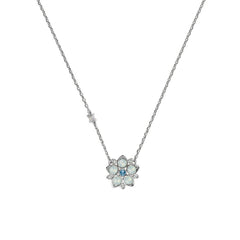 Crystal and Flower Necklace - White Opal & Blue Crystal/Rhodium Plated
