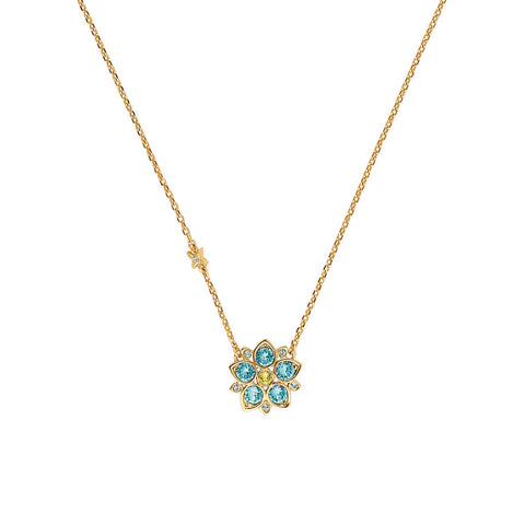 Crystal Flower Necklace - Blue Crystal/Gold Plated