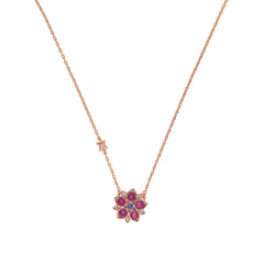 Crystal Flower Necklace - Pink Crystal/Rose Gold Plated