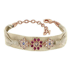 Crystal Flower Wrap Bracelet - Pink Crystal/Rose Gold Plated