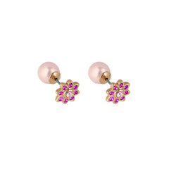 Crystal Flower Reversible Earrings - Pink Crystal/Rose Gold Plated
