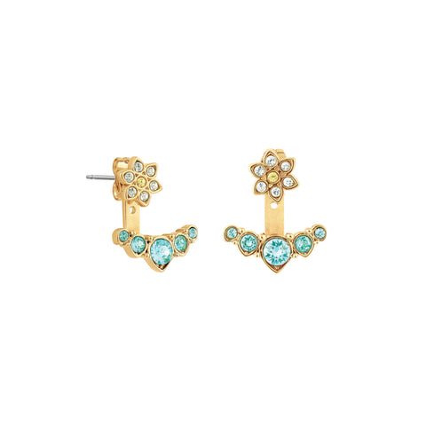Crystal Flower Jacket Earrings - Blue Crystal/Gold Plated