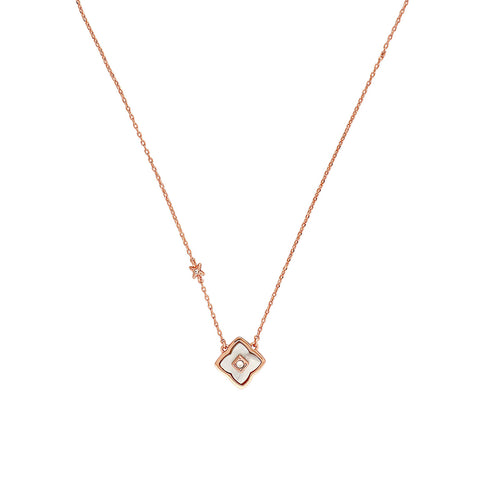Resin Floret Necklace - Crystal/White Resin/Rose Gold Plated