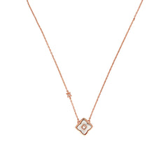 Small Resin Floret Pendant Necklace - Crystal/White Resin/Rose Gold Plated
