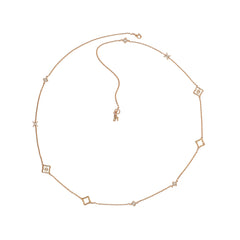 Resin Floret Long Rope Necklace - Crystal/White Resin/Rose Gold Plated