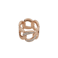 Pavé Curb Link Ring - Crystal/Rose Gold Plated