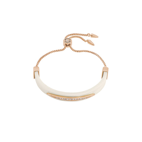Resin Half Cuff Bracelet - Crystal/White Resin/Rose Gold Plated
