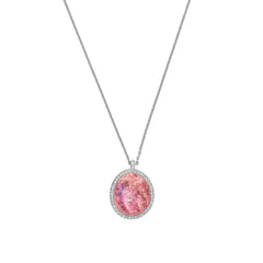Graphic Crystal Stone Long Necklace - Blush Crystal Fabric/Rhodium Plated