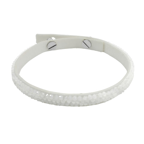 Skinny Fine Rock Bracelet - White Crystals/White Ultra Suede