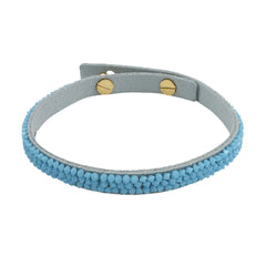 Skinny Fine Rock Bracelet - Blue Crystals/Blue Ultra Suede