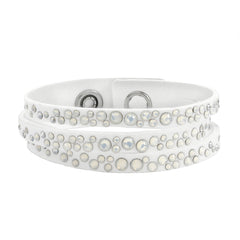 Narrow Scattered Crystal Bracelet - White Crystal/White Ultra Suede