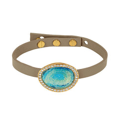 Graphic Crystal Stone Leather Bracelet - Blue Crystal Fabric/Gold Plated