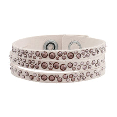 Narrow Scattered Crystal Bracelet - Pink Crystal/Pink Ultra Suede