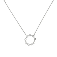 Circle Link Pendant Necklace - Crystal/Rhodium Plated