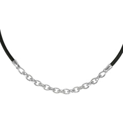 Fixed Cable Link Necklace - Crystal/Rhodium Plated