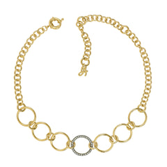 Round Link Choker Necklace - Crystal/Gold Plated
