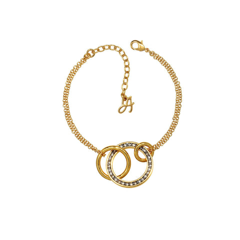 Small Round Link Bracelet - Crystal/Gold Plated