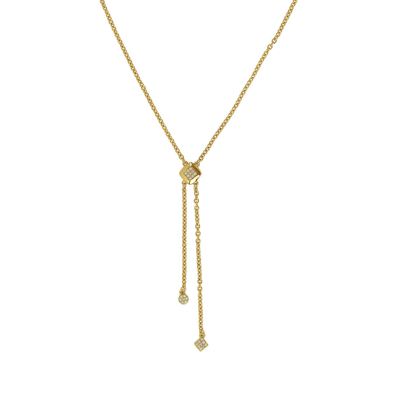 Pavé & Metal Y Necklace - Crystal/Gold Plated