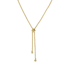 Pavé & Metal Y-Necklace - Crystal/Gold Plated