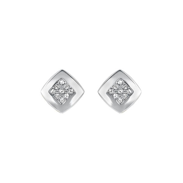 Pavé & Metal Stud Earrings - Crystal/Rhodium Plated