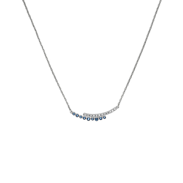 Pavé & Round Curved Bar Necklace - Mixed Crystal/Rhodium Plated