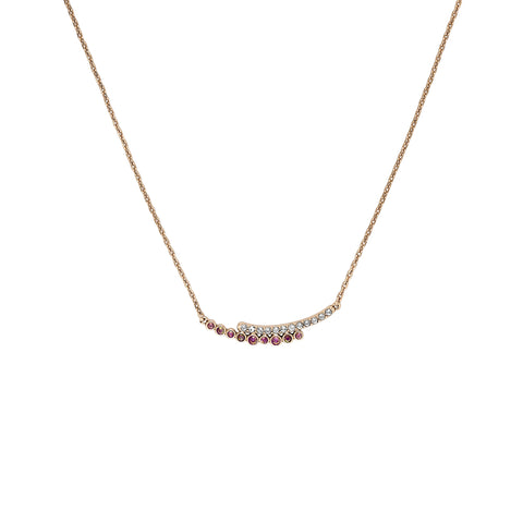 Pavé & Round Curved Bar Necklace