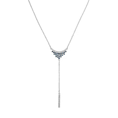 Pavé & Round Cluster Y-Necklace - Mixed Crystal/Rhodium Plated