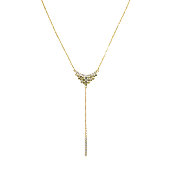 Pavé & Round Cluster Y Necklace - Mixed Crystal/Gold Plated