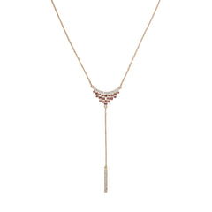 Pavé & Round Cluster Y-Necklace - Mixed Crystal/Rose Gold Plated
