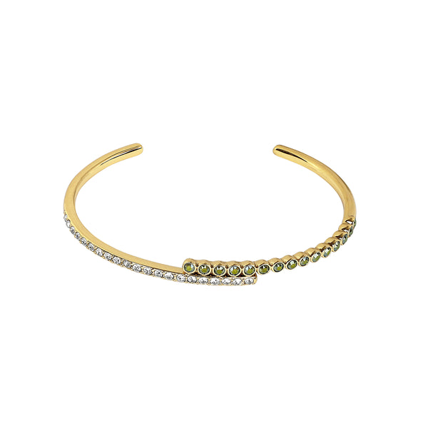 Pavé & Round Cuff Bracelet - Mixed Crystal/Gold Plated