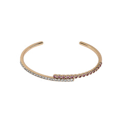 Pavé & Round Cuff Bracelet - Mixed Crystal/Rose Gold Plated