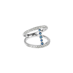 Pavé & Round Ring - Mixed Crystal/Rhodium Plated