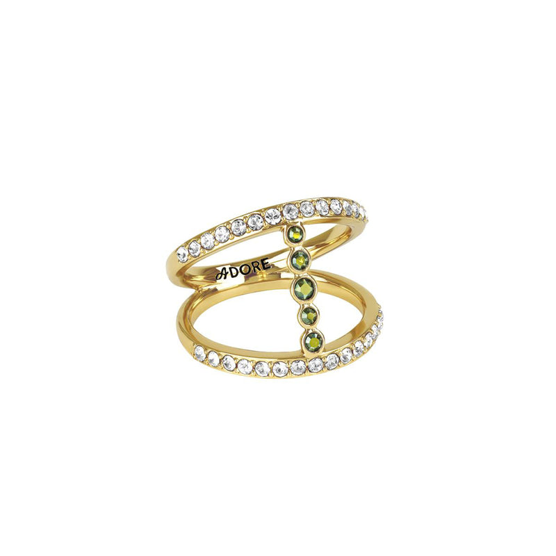 Pavé & Round Ring - Mixed Crystal/Gold Plated